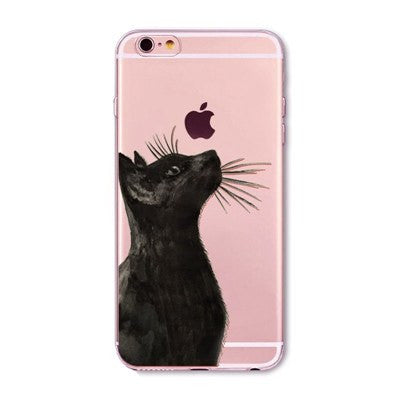 Regal Black Cat Soft Silicon Transparent Phone Cases For iPhones