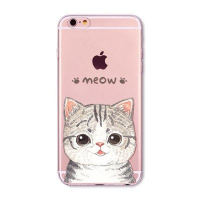 Puffy Cat Soft Silicon Transparent Phone Cases For iPhones