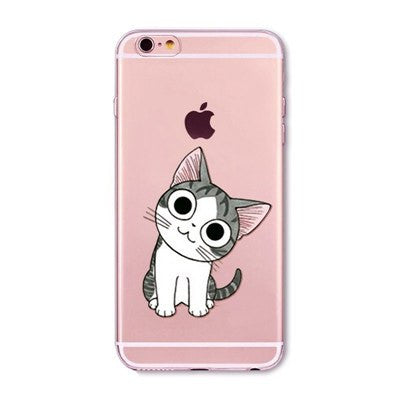 Happy Cute Cat Soft Silicon Transparent Phone Cases For iPhones