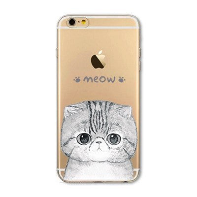Cat Says Meow Soft Silicon & Transparent Phone Cases For iPhones