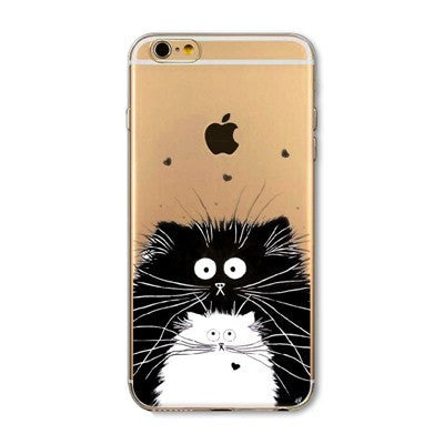 Fluffy Cat Soft Silicon Transparent Phone Cases For iPhones