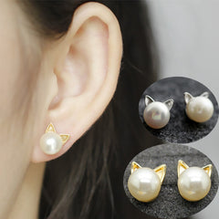 Cat Ear Silver & Gold Pearl Stud Earrings - Just Love Cats