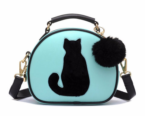 Cat & Fur Ball Cross Body Handbag