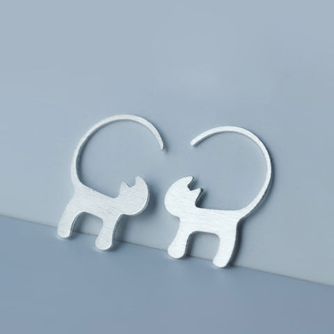Silver Hook Cat Stud Earrings
