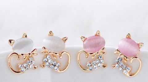 Bowtie Kitten Rhinestone Stud Earrings