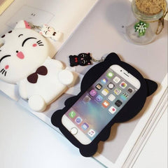 Lovely Cartoon Cat Silicone Phone Case