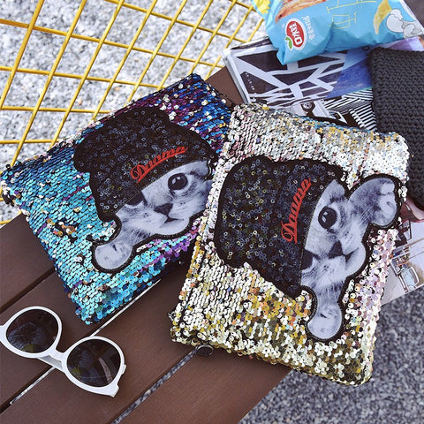 Sequined Cat Clutch Handbag