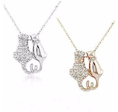 Crystal Cat Lovers Couple Pendant Necklace