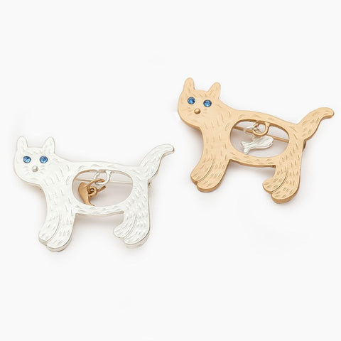 Cat Eats Fish Brooch