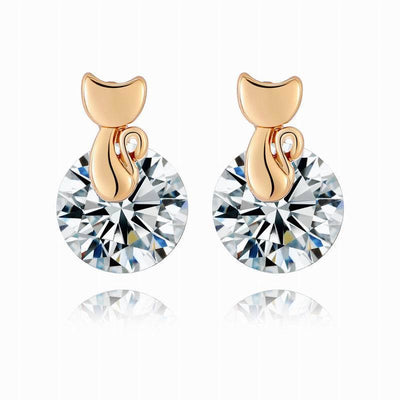 Gold Austria Crystal Cat Stud Earrings - Just Love Cats