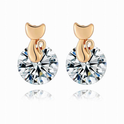 Gold Austria Crystal Cat Stud Earrings
