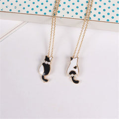 Black & White Pearl Gold Cat Enamel Pendant Necklace