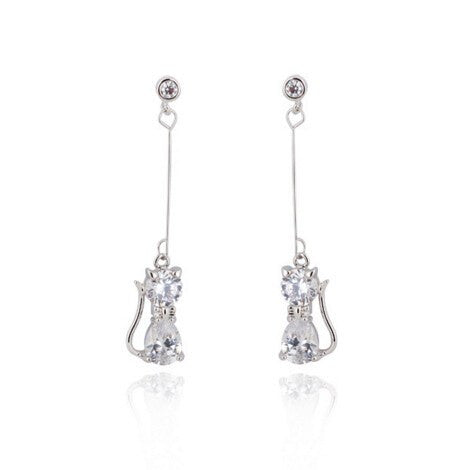 Cat Crystal Long Drop Dangle Earrings
