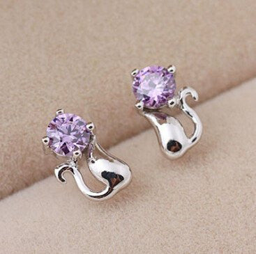 Purple Cat Stud Earrings