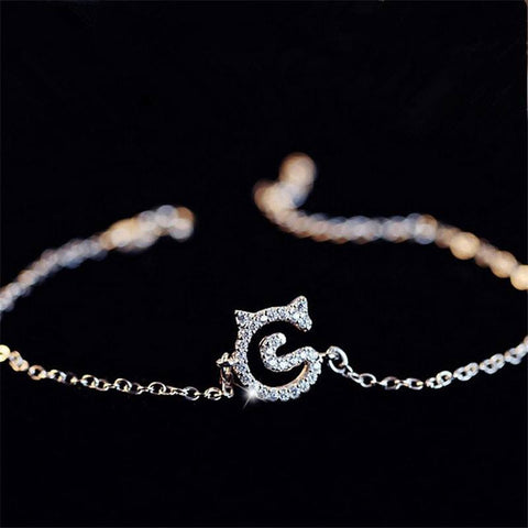Real Sterling Silver Crystal Kitty Cat Bracelet