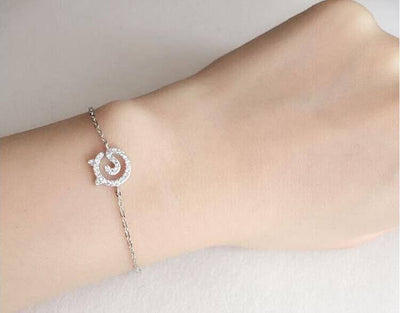 Real Sterling Silver Crystal Kitty Cat Bracelet - Just Love Cats