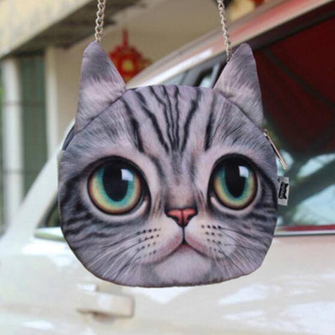 3D Green Eyed Cat Chain Shoulder Purse