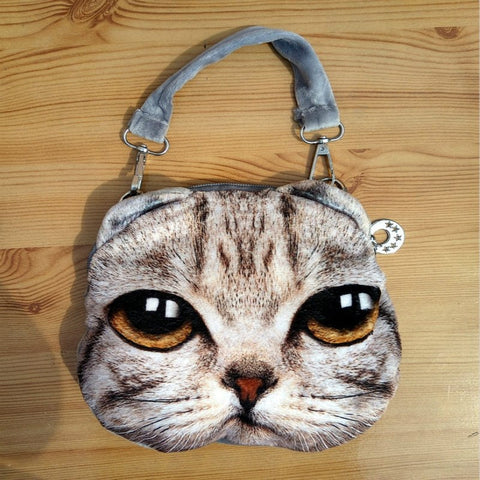 Gray Puffy Cat Chain Shoulder Purse