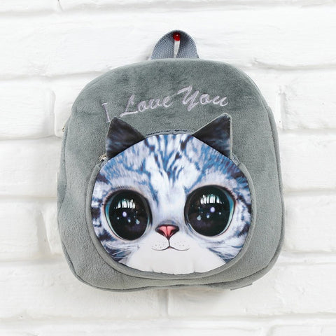 3D Cartoon Cat Face Backpack & Purse