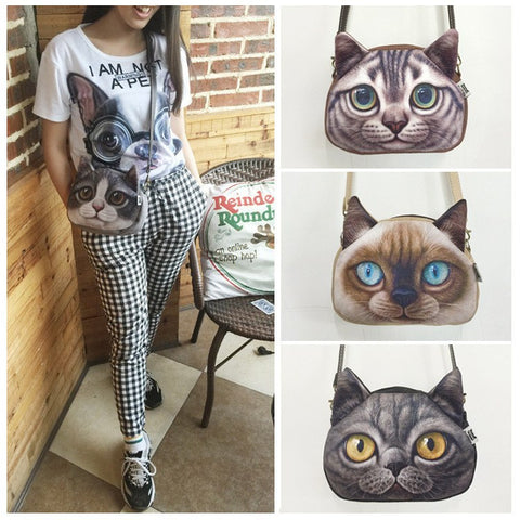 Cross Body Anime Cat Leather Strap Purse