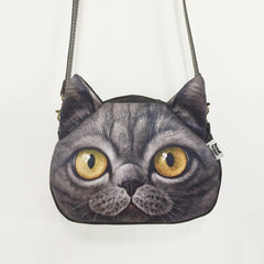 Cross Body Cat Leather Strap Purse