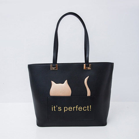 It's Perfect Cat Tote Handbag