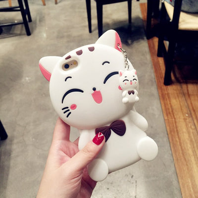 Lovely Cartoon Cat Silicone Phone Case - Just Love Cats