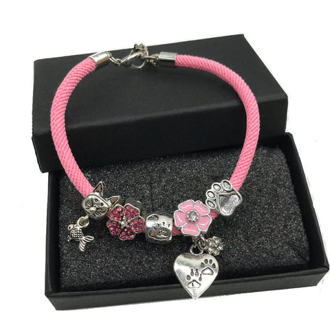 Furrever In My Heart Cat Charm Bead Bracelet