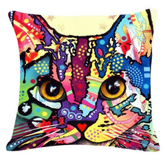 Colorful Mosaic Cat Throw Pillows