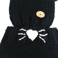 Kids Knit Wool Cat Hat & Beanie Plus Hooded Shawl Cowl