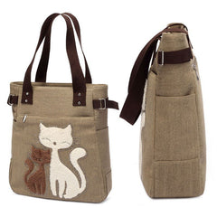 Canvas Cartoon Cat Handbag - Just Love Cats