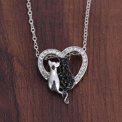 Rhinestone Cat Two Cats Heart Pendant Necklace