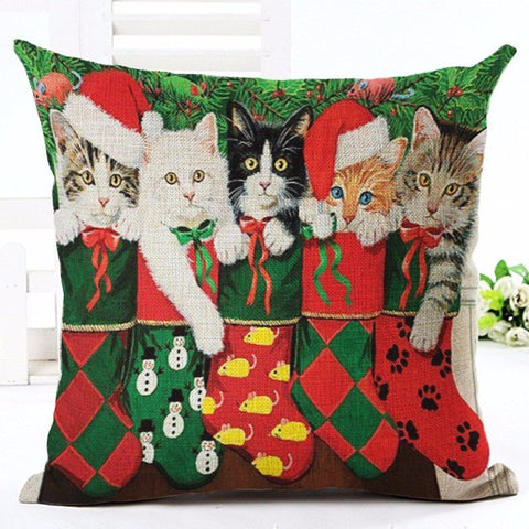 Christmas Cat Throw Pillows