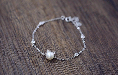 Silver & Pearl Cat Bracelet - Just Love Cats