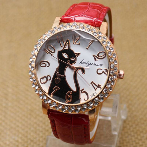 Rhinestone Vintage Cat Wrist Watch