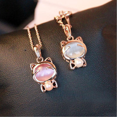 Golden Cat Pendant Necklace & Earring Set - Just Love Cats