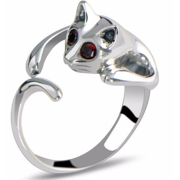 Adjustable Silver And Rhinestone Cat Ring - Just Love Cats