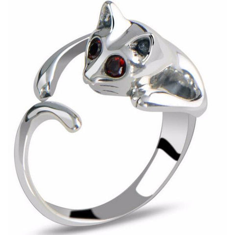 Adjustable Silver And Rhinestone Cat Ring