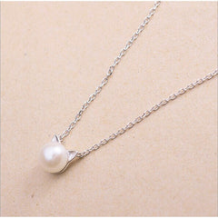 Silver & Pearl Cat Necklace - Just Love Cats