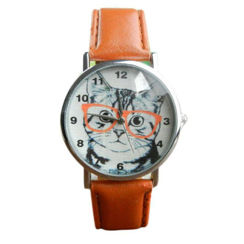 Retro Cat With Glasses Leather Wrist Watch Bracelet