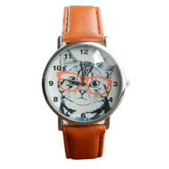 Retro Cat With Glasses Leather Wrist Watch Bracelet - Just Love Cats