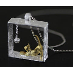 Cat In A Box Silver Pendant Necklace - Just Love Cats