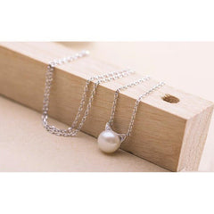 Silver & Pearl Cat Necklace