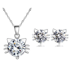 Austria Crystal Cat Pendant Necklace & Earring Jewelry Set - Just Love Cats