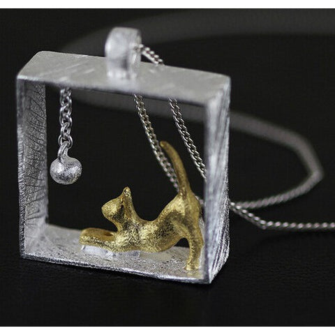 Cat In A Box Silver Pendant Necklace