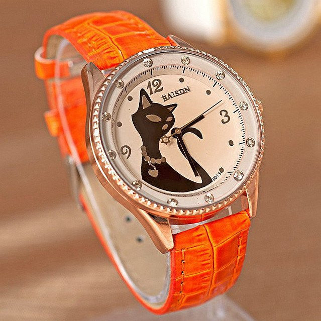 Cute Vintage Retro Leather Cat Wrist Watch - Just Love Cats