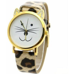 Rhinestone Cat Face Leather Wrist Watch Bracelet - Just Love Cats