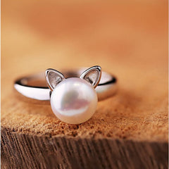 Silver & Pearl Cat Ring - Just Love Cats