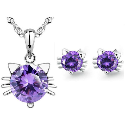 Purple Crystal Amethyst Cat Pendant Necklace & Earrings Set