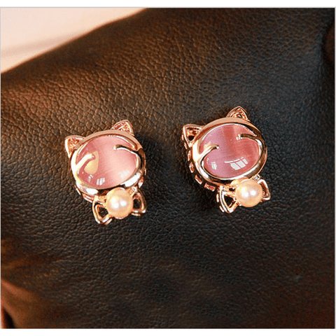 Golden Cat Earrings